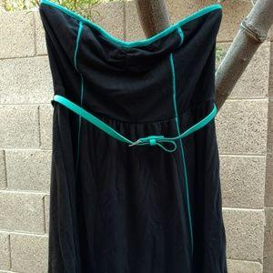 [Xhilaration] Sporty Black Teal Belted Mini Dress